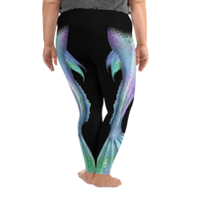 Load image into Gallery viewer, Shimmering Mermaid Tail Plus Size Leggings - Scuba Sisters Diving Apparel