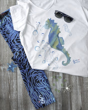 Load image into Gallery viewer, Bubbly Seahorse Tee - Fitted Scoopneck - Scuba Sisters Diving Apparel
