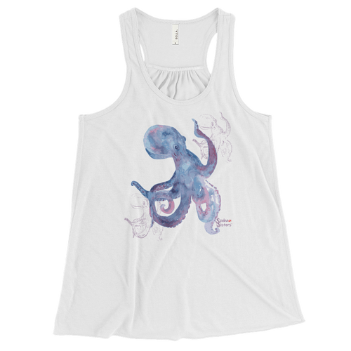 Ladies Octopus Tank Top by Scuba Sisters - White