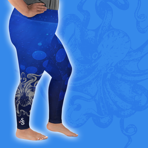 Octopus Hug Plus Size Leggings - Scuba Sisters Diving Apparel