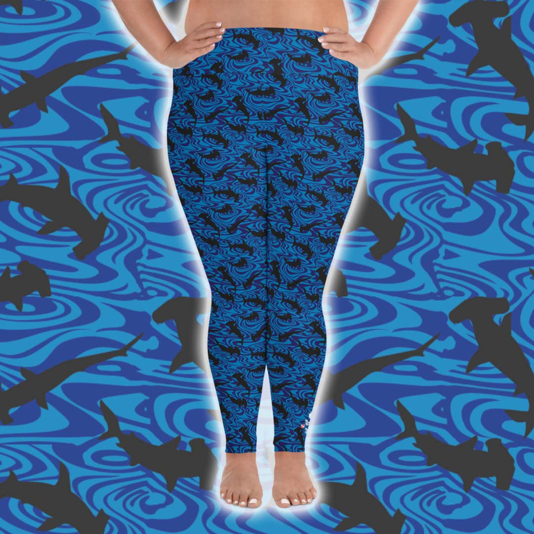 Hammerhead Shark Plus Size Leggings - Scuba Sisters Diving Apparel