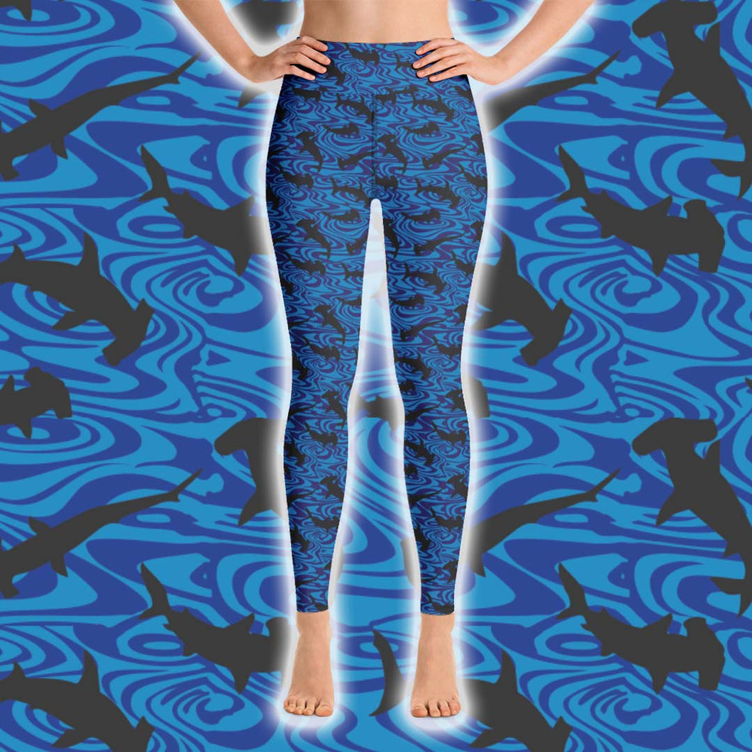 Hammerhead Shark Leggings - High Waist - Scuba Sisters Diving Apparel