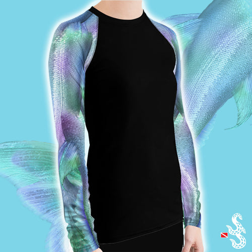 Shimmering Mermaid Tail Women's Rash Guard