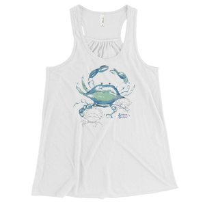 Ladies Crab Tank Top by Scuba Sisters - White