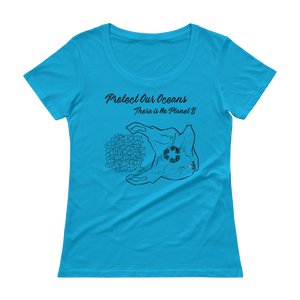 Protect Our Oceans - There is No Planet B - Relaxed Scoopneck Tee - Scuba Sisters Diving Apparel