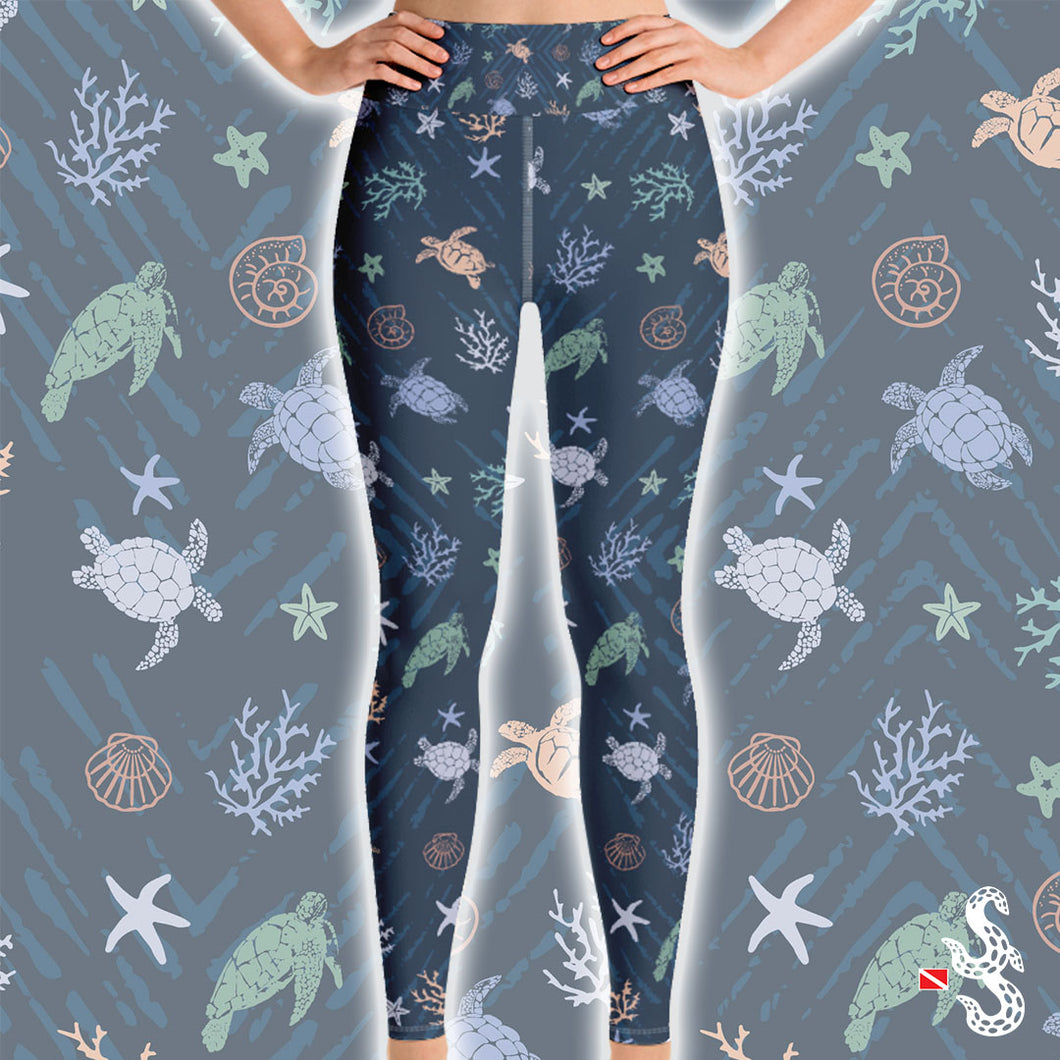 Sea Turtle High Waist Leggings by Scuba Sisters