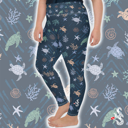 Sea Turtle Plus Size Leggings by Scuba Sisters