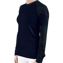 Load image into Gallery viewer, Moonrise Puffer Women's Rash Guard - Scuba Sisters Diving Apparel