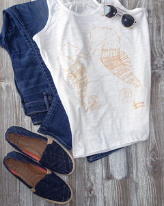 Smooching Seahorses Tank and Jeans Ocean Apparel Outfit
