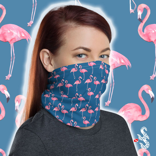 Flamingo Face Cover and Neck Gaiter by Scuba Sisters