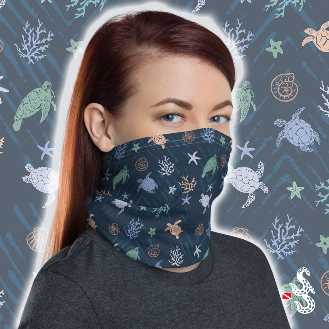 Sea Turtle Face Cover and Neck Gaiter by Scuba Sisters