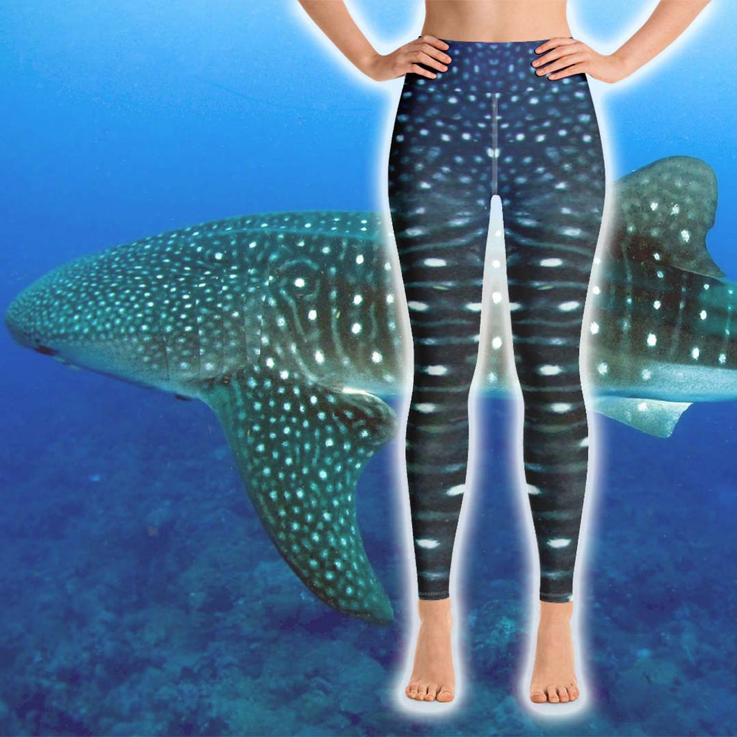 Whale Shark Leggings - High Waist - Scuba Sisters Diving Apparel