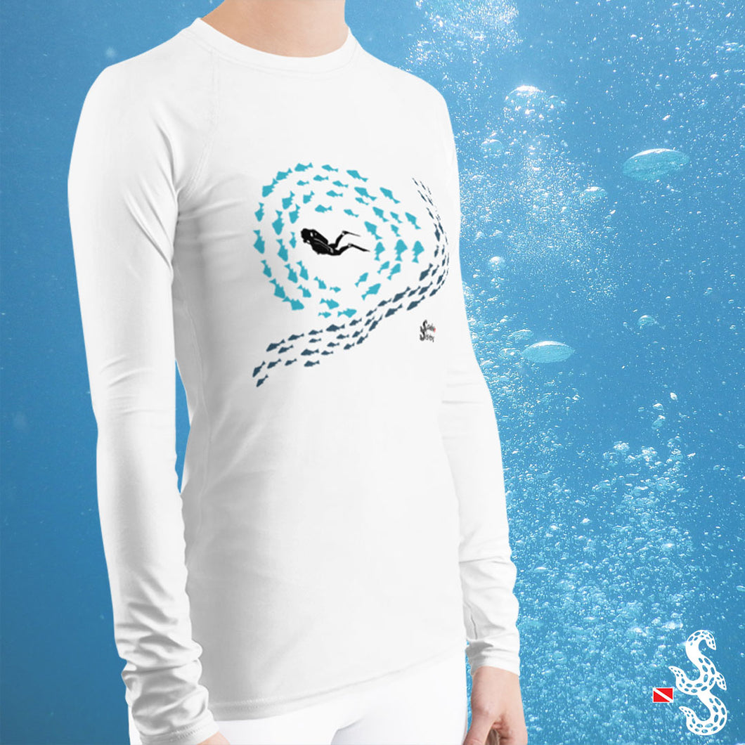 Woman Scuba Diving Rash Guard by Scuba Sisters