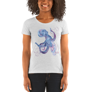 Woman Wearing Ladies Octopus Shirt by Scuba Sisters