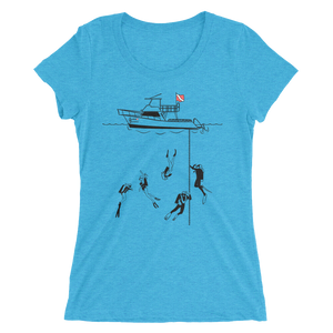 Diving With My Scuba Sisters Tee - Fitted Scoopneck - Scuba Sisters Diving Apparel