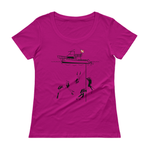Diving With My Scuba Sisters Tee - Relaxed Scoopneck - Scuba Sisters Diving Apparel