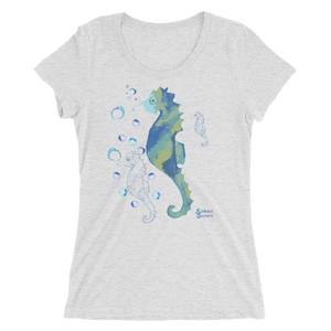 Bubbly Seahorse Tee - Fitted Scoopneck - Scuba Sisters Diving Apparel