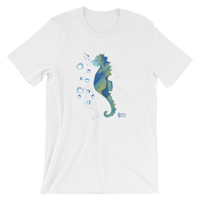 Load image into Gallery viewer, Unisex Seahorse T-Shirt by Scuba Sisters - White
