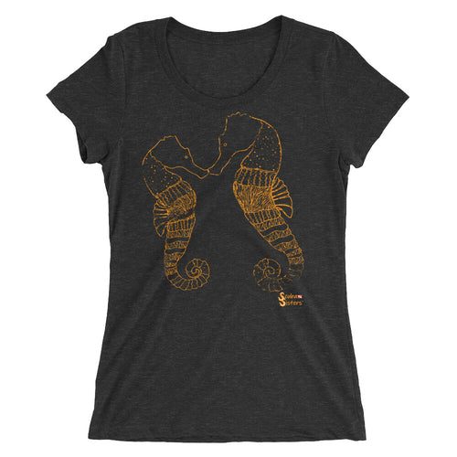 Ladies Seahorse T-Shirt by Scuba Sisters - Black