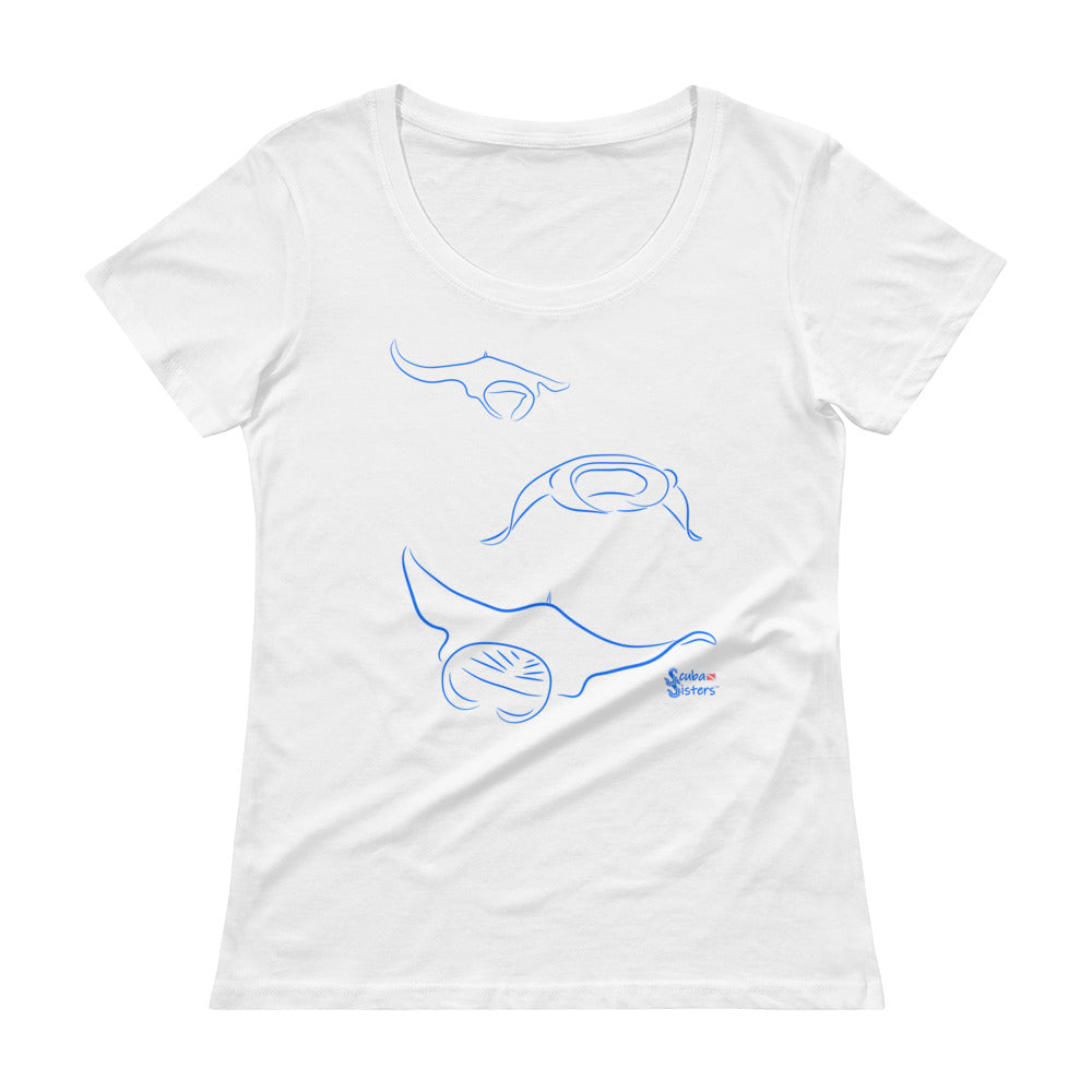 Manta Triplets Tee - Relaxed Scoopneck - Scuba Sisters Diving Apparel