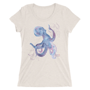 Shadow Octopus Tee - Fitted Scoopneck - Scuba Sisters Diving Apparel