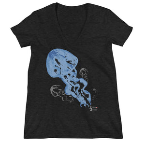 Blue Jellies Tee - Fitted V Neck - Scuba Sisters Diving Apparel