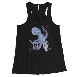 Ladies Octopus Tank Top for Scuba and Free Diving Women - Black