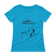 Load image into Gallery viewer, Diving With My Scuba Sisters Tee - Relaxed Scoopneck - Scuba Sisters Diving Apparel