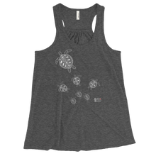 Load image into Gallery viewer, Ladies Sea Turtle Crossing Flowy Tank Top for Divers by Scuba Sisters - Grey