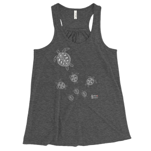 Ladies Sea Turtle Crossing Flowy Tank Top for Divers by Scuba Sisters - Grey