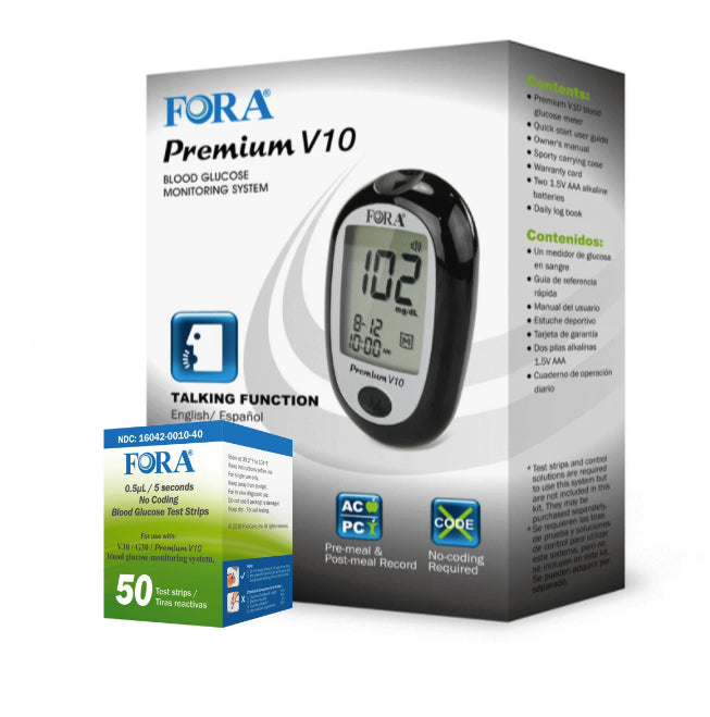 FORA® Premium V10 BLE Talking Blood Glucose Meter with 50 Glucose Test Trips - HOY HEALTH