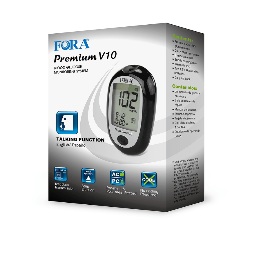FORA® Premium V10 BLE Talking Blood Glucose Meter (Bluetooth 4.0/English/ Español) - HOY HEALTH