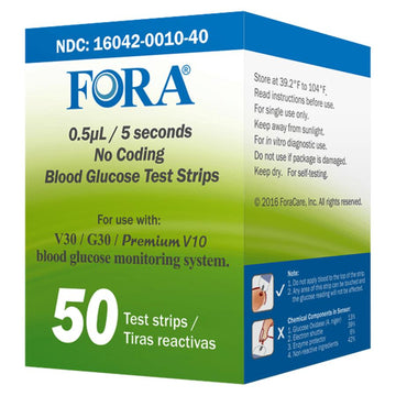 FORA® V30/G30/PremiumV10 Blood Glucose Test Strips (50 count) - HOY HEALTH