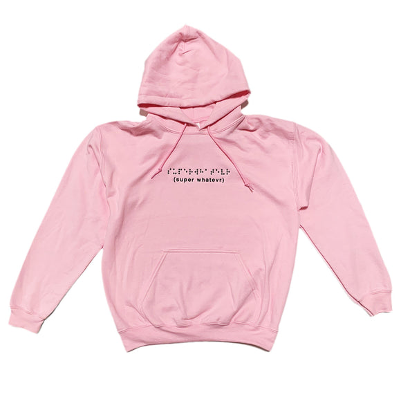 Braille Embroidered Pink Hoodie