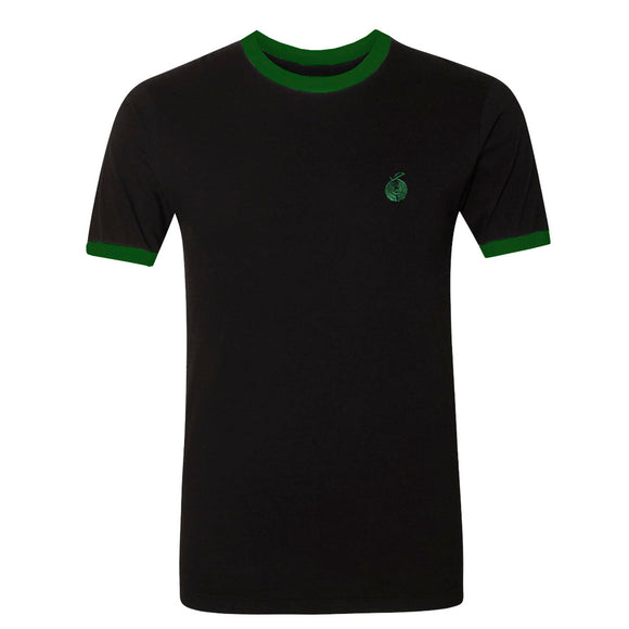Embroidered Orange Black W/ Green Ringer T-Shirt