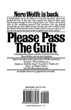 Please Pass the Guilt (Nero Wolfe)