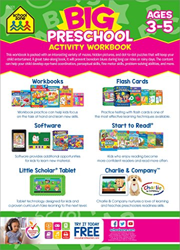 School Zone - Big Preschool Activity Workbook - Ages 3 and Up, Colors, Shapes, Alphabet, Numbers, and Much More