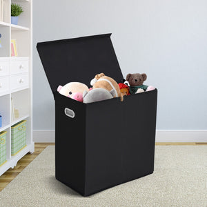 Double Laundry Hamper Storage Collapsible Basket Cothes Organizer Coffee