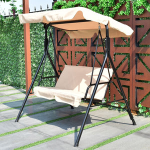 Love Seat Swing with Patio Canopy Coffee - NutritionalInstitute.com