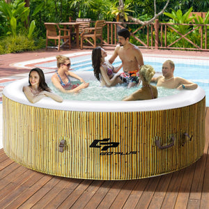 6 Person Inflatable Hot Tub Outdoor Massage Spa Coffee - NutritionalInstitute.com