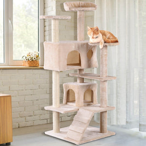 "52"" Cat Scratching Post and Ladder Kitten Tower Tree Coffee"