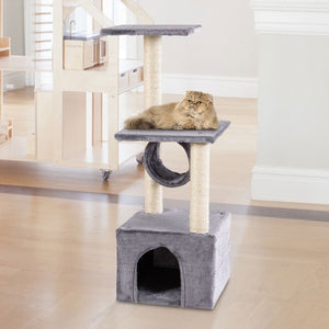 "37"" Cat Tree Condo Kitten Pet House with Scratch Post Coffee"