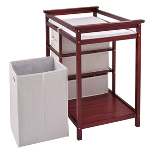 Infant Baby Changing Table with 3 Baskets Coffee