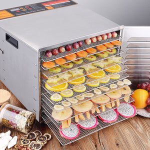 10 Trays Stainless Steel Food Dehydrator Fruit Dryer - NutritionalInstitute.com