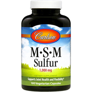 Carlson Labs MSM Sulfur Supports Joint And Skin Health 180 Capsules
