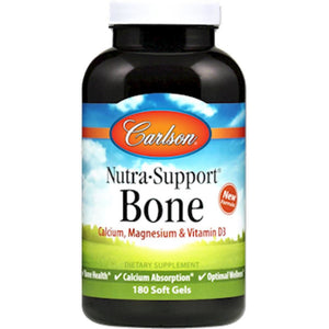 Carlson Labs Nutra Support Bone Health, Calcium Absorption, Optimal Wellness 180 Gels ME