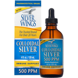 Natural Path Silver Wings Colloidal Silver 500PPM 4 oz Dropper CS40A ME
