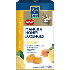 Manuka Health Manuka Honey & Lemon 15 Lozenges 195 SD - NutritionalInstitute.com