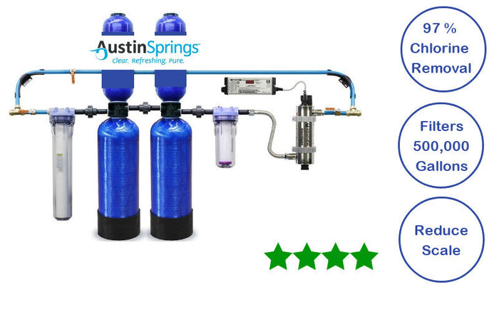 Austin Spring Whole House Water Filter w Salt Free Soft UV Lgt Pre&Post Filter+