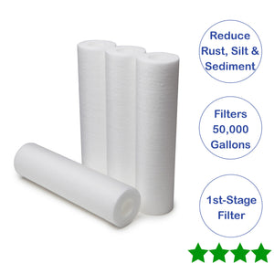 "Austin Springs Whole House 4 PACK 10"" Pre Filter Replacement Cartridges - NutritionalInstitute.com"